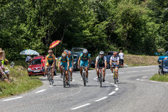 Group of Amateurs Cyclists. Eaux Bonnes,France, July 15th 2011: A group of amateur cyclists climbing the road to mountain pass Abisque, in Pyrenees mountains Royalty Free Stock Image