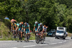 Group of Amateurs Cyclists. Eaux Bonnes,France, July 15th 2011: A group of amateur cyclists climbing the road to mountain pass Abisque, in Pyrenees mountains Stock Photos