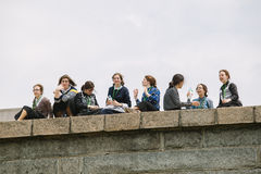 Group of Amish Young Women visiting the Statue of Liberty, NY Stock Images