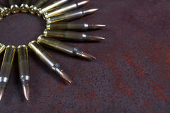 Group of  ammunition geometrically placed. Ammo circle Royalty Free Stock Photography