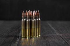 Group of  ammunition geometrically placed in rows Royalty Free Stock Photography