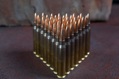 Group of  ammunition geometrically placed in rows Royalty Free Stock Photo