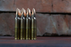 Group of  ammunition geometrically placed in rows Stock Image