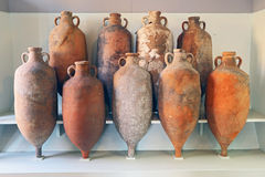 A group of Amphora recovered from the sea in Tuscany royalty free stock images