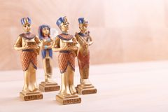 A group of ancient Egyptian statuettes royalty free stock photos