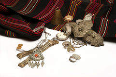 Group of ancient jewel and coins Stock Image