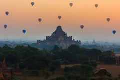 Group of ancient pagodas in Bagan with altitude balloons at the Royalty Free Stock Photography