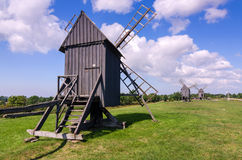 Group of ancient Swedish windmills Royalty Free Stock Images
