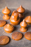 Group of ancient Thai wooden chess Royalty Free Stock Photos