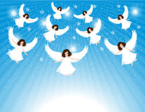 Group Of Angels. In the sky with stars stock illustration