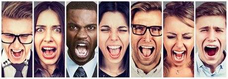 Group of angry young people screaming. Collage group of angry multicultural young people screaming in frustration Stock Photos
