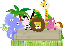 Group of animals and banner Royalty Free Stock Images
