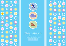 Group of animals on blue background , Design of baby shower cards,Vector Stock Image