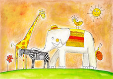 Group of animals, child's drawing, watercolor painting