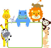 Group of animals and frame. Cartoon Royalty Free Stock Photos
