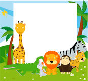 Group of animals and frame Stock Photo