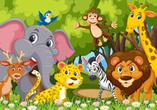 Group of animals in jungle. Illustration royalty free illustration
