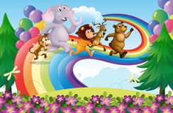 A group of animals at the rainbow stock illustration