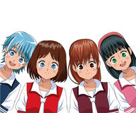Group anime girl manga Royalty Free Stock Image