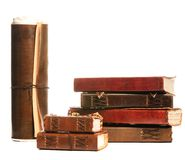 Group of antique books. Isolated on white Stock Images