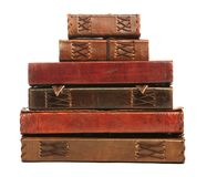 Group of antique books. Isolated on white Stock Photos