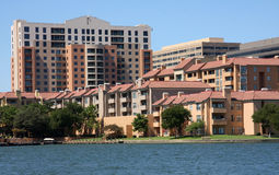 A group of apartment building. Beautiful apartment building beside lake Royalty Free Stock Image