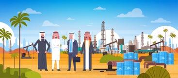 Group Of Arab Business Men On Oil Platform In Desert East Petrolium Production And Trade Concept. Flat Vector Illustration royalty free illustration