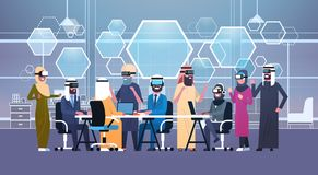 Group Of Arab Business People Wearing 3d Glasses During Meeting In Office Virtual Reality Concept. Flat Vector Illustration Stock Photos