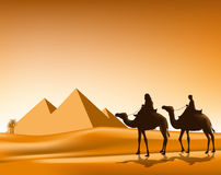 Group of Arab People with Camels Caravan Riding. In Realistic Wide Desert Sands in Great Pyramid of Giza in Egypt. Editable Vector Illustration Royalty Free Stock Images