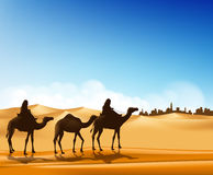 Group of Arab People with Camels Caravan Riding. In Realistic Wide Desert Sands in Middle East Going to a City. Editable Vector Illustration Royalty Free Stock Photography