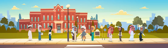 Group Of Arab Pupils Stand In Front Of School Building Primary Muslim Schoolchildren Talking Students. Flat Vector Illustration Stock Photo