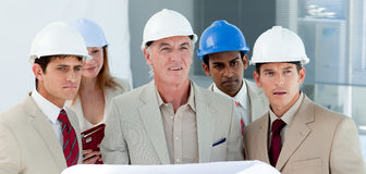 A group of architect in a building site Royalty Free Stock Photos
