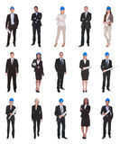 Group Of Architects With Blue Print Royalty Free Stock Photos