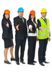 Group of architects in a row with hands open Stock Photography