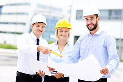 Group of architects on site Royalty Free Stock Photos