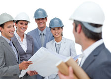 A group of architects studying blueprints Royalty Free Stock Photography