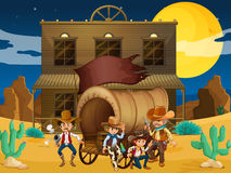 A group of armed men with a wagon near the salon bar Royalty Free Stock Image