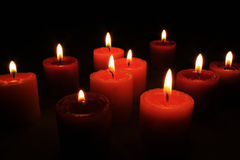 Group of aroma candles. Some burning aroma candles for Romantic eve Royalty Free Stock Images
