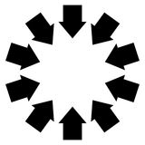 Group of arrows following a circle pointing inwards Royalty Free Stock Photos
