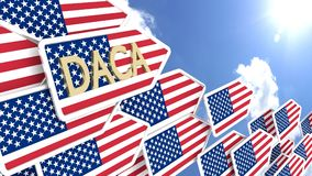 Group of DACA arrows pointing into the direction of the sun with Royalty Free Stock Image