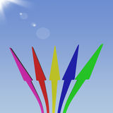 Group Of Arrows Pointing Up To The Sky Showing Progress Or Impro Stock Image