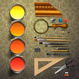Group art supplies Stock Images