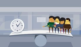 Group Of Asian Business People Vs Time On Balance Scale Deadline Concept Office Background. Flat Vector Illustration Royalty Free Stock Photo