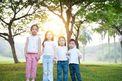 Group of Asian children outdoor portrait. Royalty Free Stock Photo