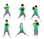 Group of Asian cute child is jumping Royalty Free Stock Photo