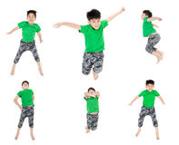 Group of Asian cute child is jumping Stock Photo