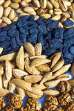 Group of asian dry fruits and nuts. Whole nuts, pistacho Royalty Free Stock Images