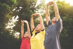 Group of Asian family stretching exercises. Group of Asian family  stretching exercises at park outdoor Royalty Free Stock Image