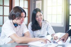 Group asian freelancer working together in office Stock Images