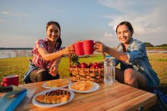 A group of Asian friends drinking coffee and spending time making a picnic in the summer holidays.They are happy and have fun on stock photography
